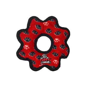 Tuffy's Red Paw Print Jr Gear Ring Tug Dog Toy