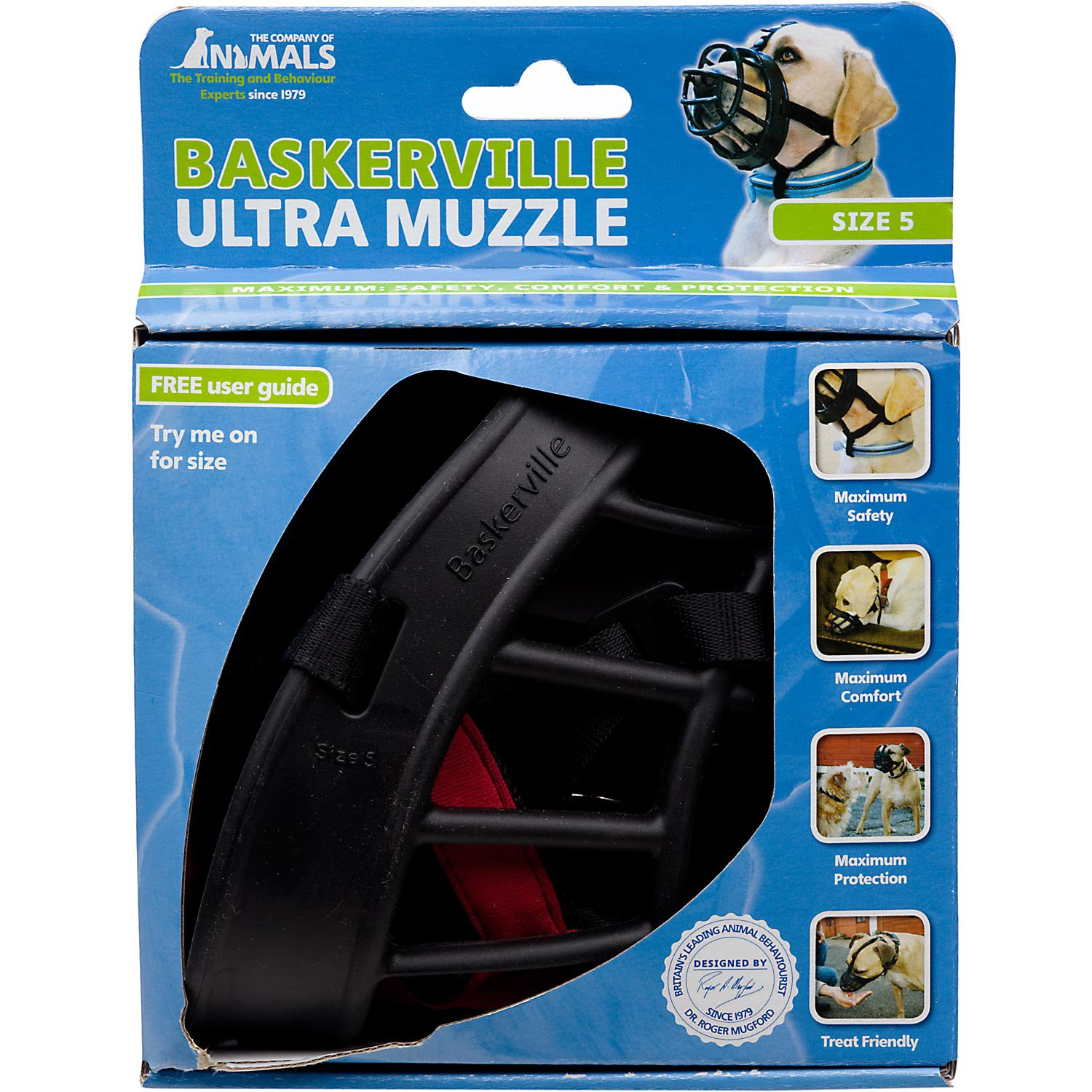 The Company Of Animals Baskerville Ultra Muzzle For Dogs, Size 6, Black