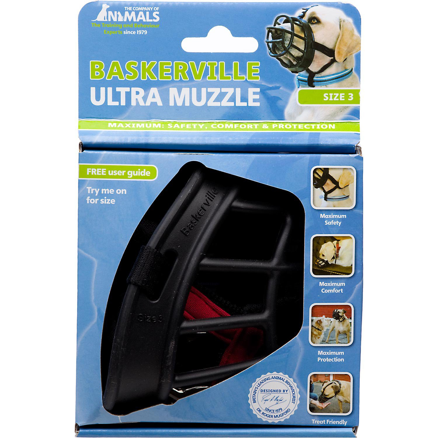 The Company Of Animals Baskerville Ultra Muzzle For Dogs, 3, Black