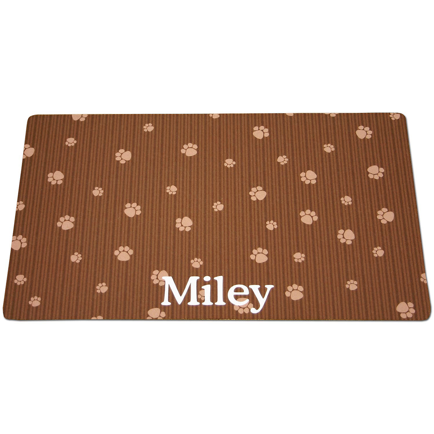 Drymate Brown & Tan Paw Print Personalized Cat Litter Box Mat, Large