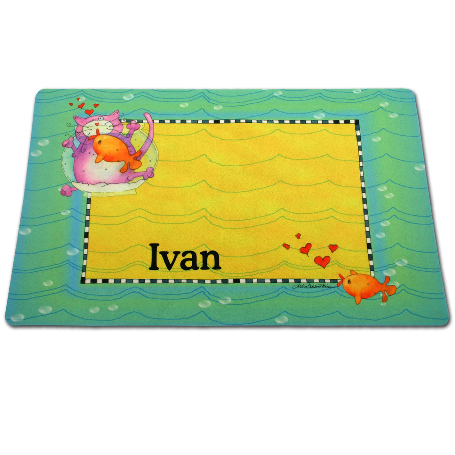Drymate Green Border Fish Bowl Personalized Pet Placemat