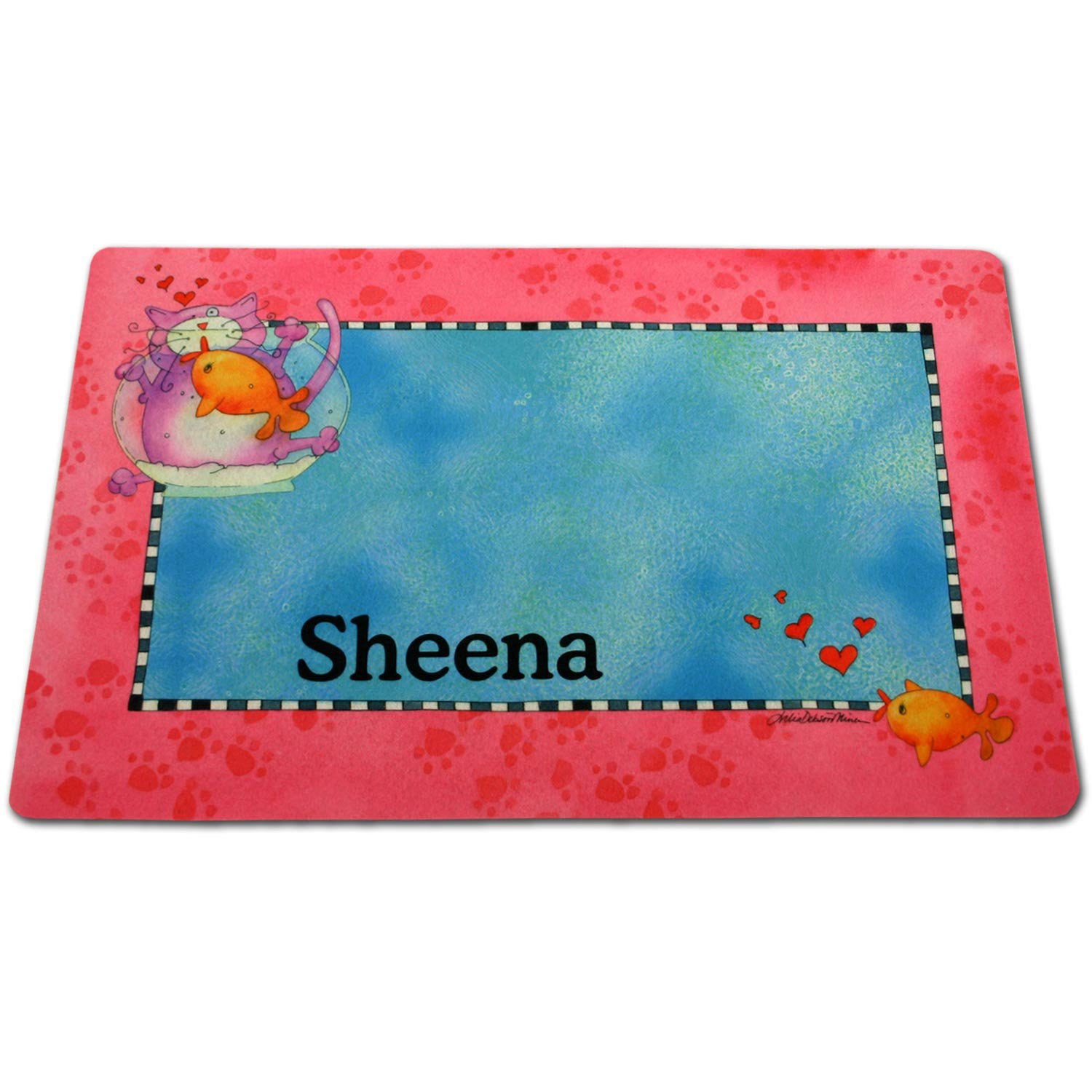 Dog Training Placemat: Drymate Pink Border Fish Bowl Personalized Pet Placemat