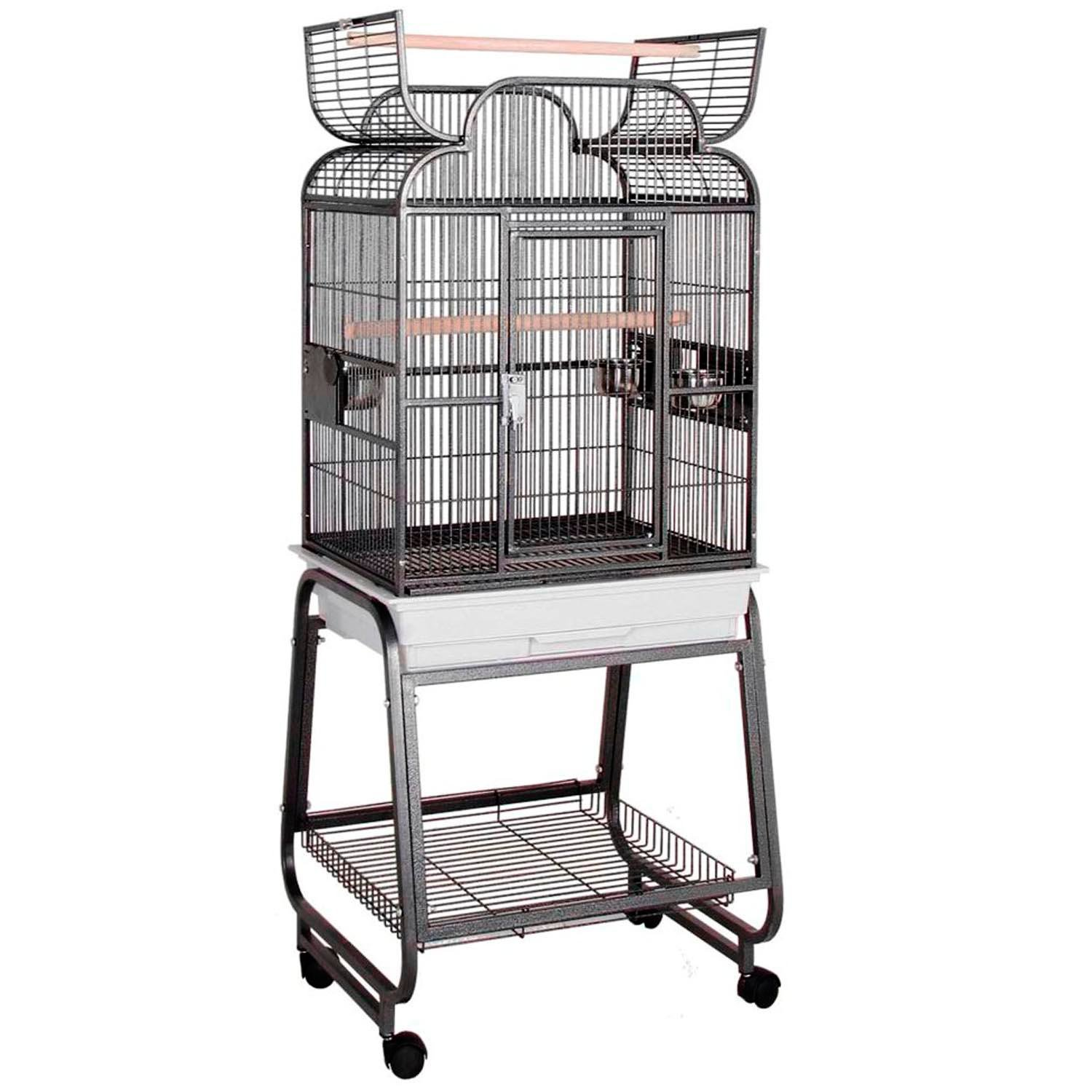 Hq Opening Scroll Top With Cart Stand Bird Cage In