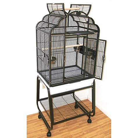 HQ Opening Victorian Top with Cart Stand Bird Cage in Platinum