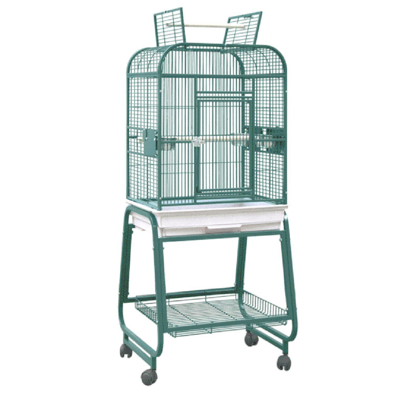 HQ Opening Square Top with Cart Bird Cage in Platinum