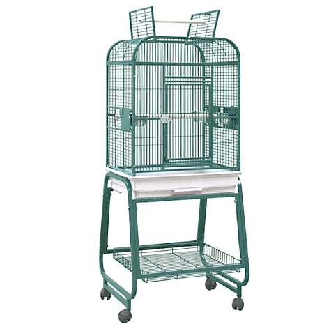 HQ Opening Square Top with Cart Bird Cage in Beige