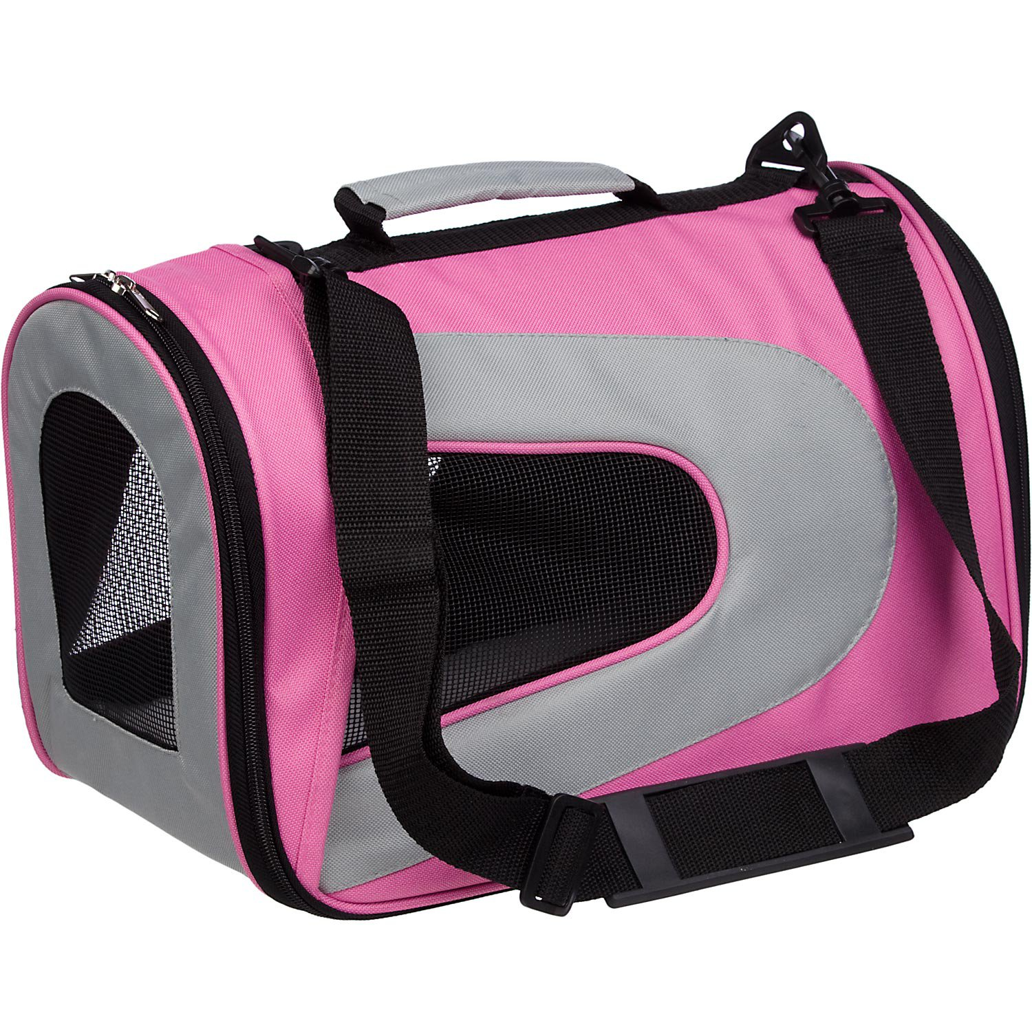 Pet Life Folding Zippered Sporty Mesh Pet Carrier in Pink & Gray
