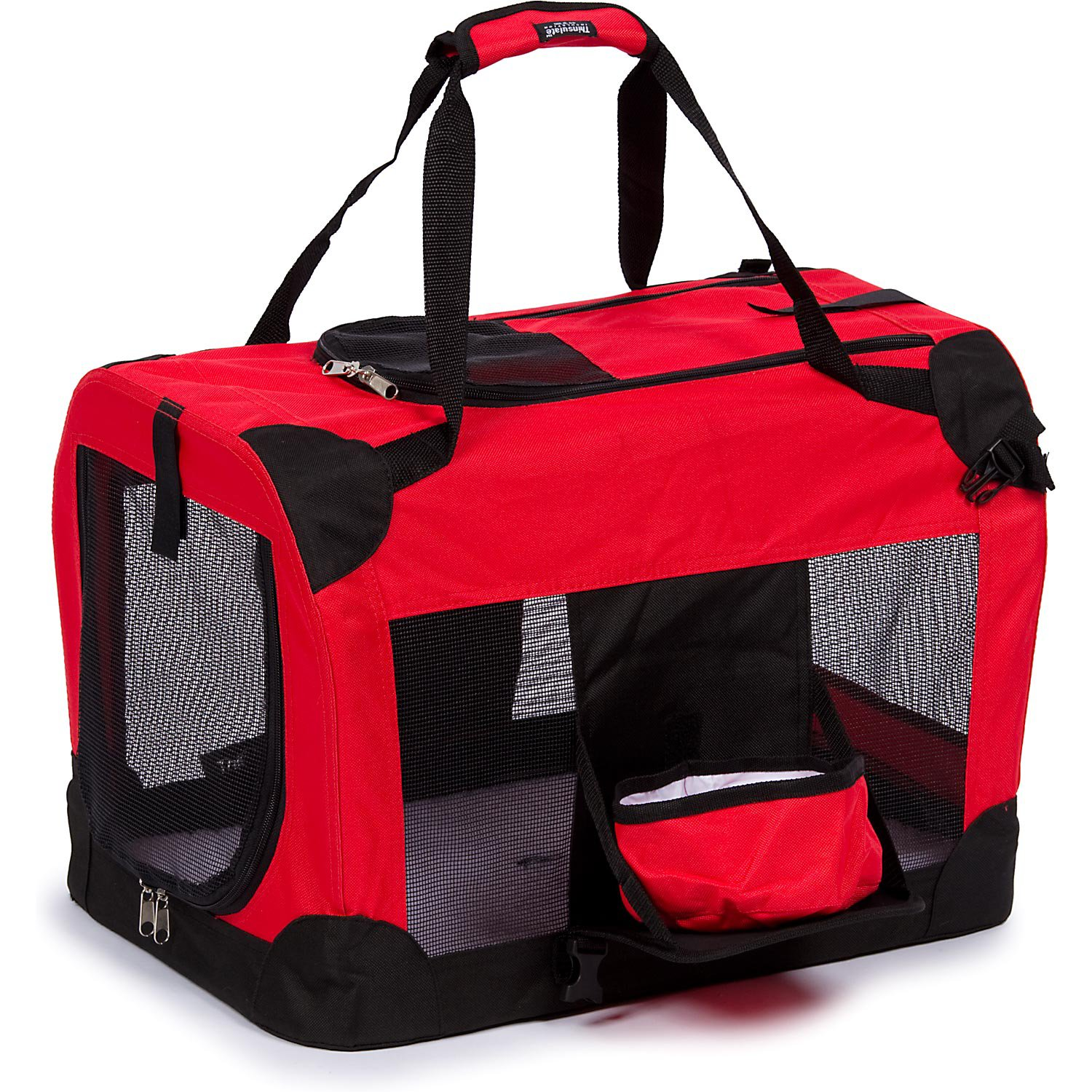 """Pet Life Folding Deluxe 360 Vista View House Carrier In Red, 23"""" L X 16"""" W X 16"""" H, Small"""