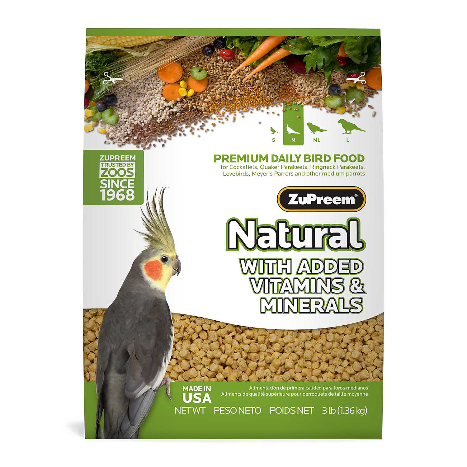 Zupreem Avianmaintenance Natural Bird Diet For Cockatiels 2.5 Lbs.