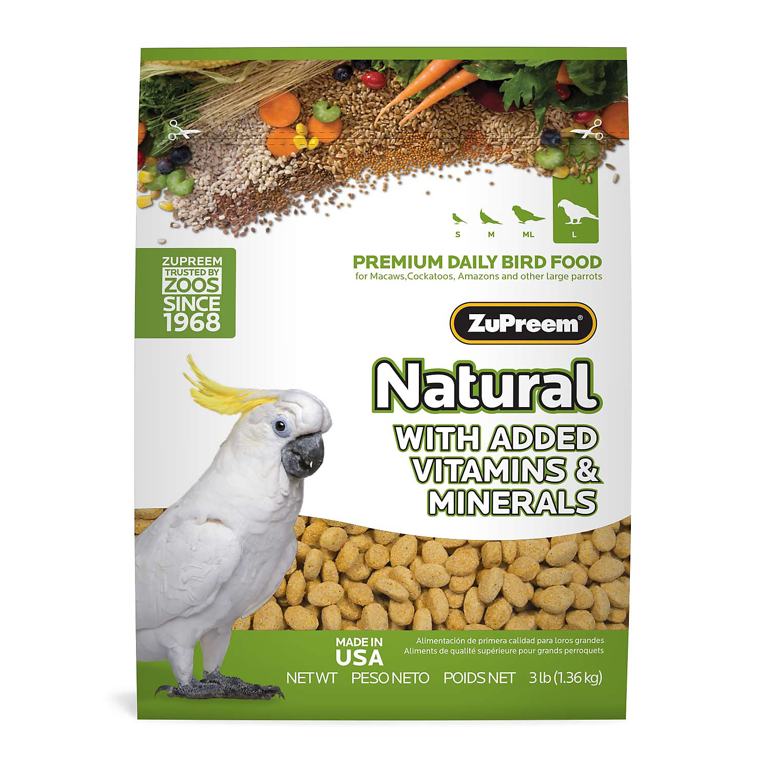 Zupreem Classic Avianmaintenance Natural Bird Diet For Large Parrots 3 Lbs.