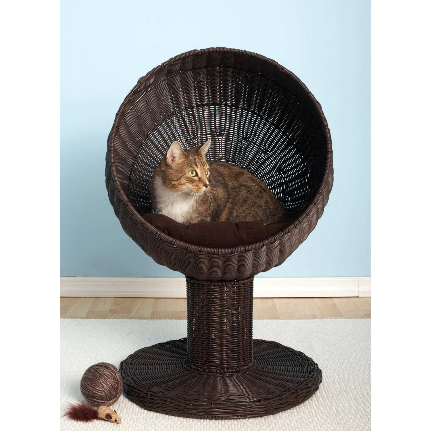 the refined feline kitty ball bed in espresso  petco - the refined feline kitty ball bed in espresso