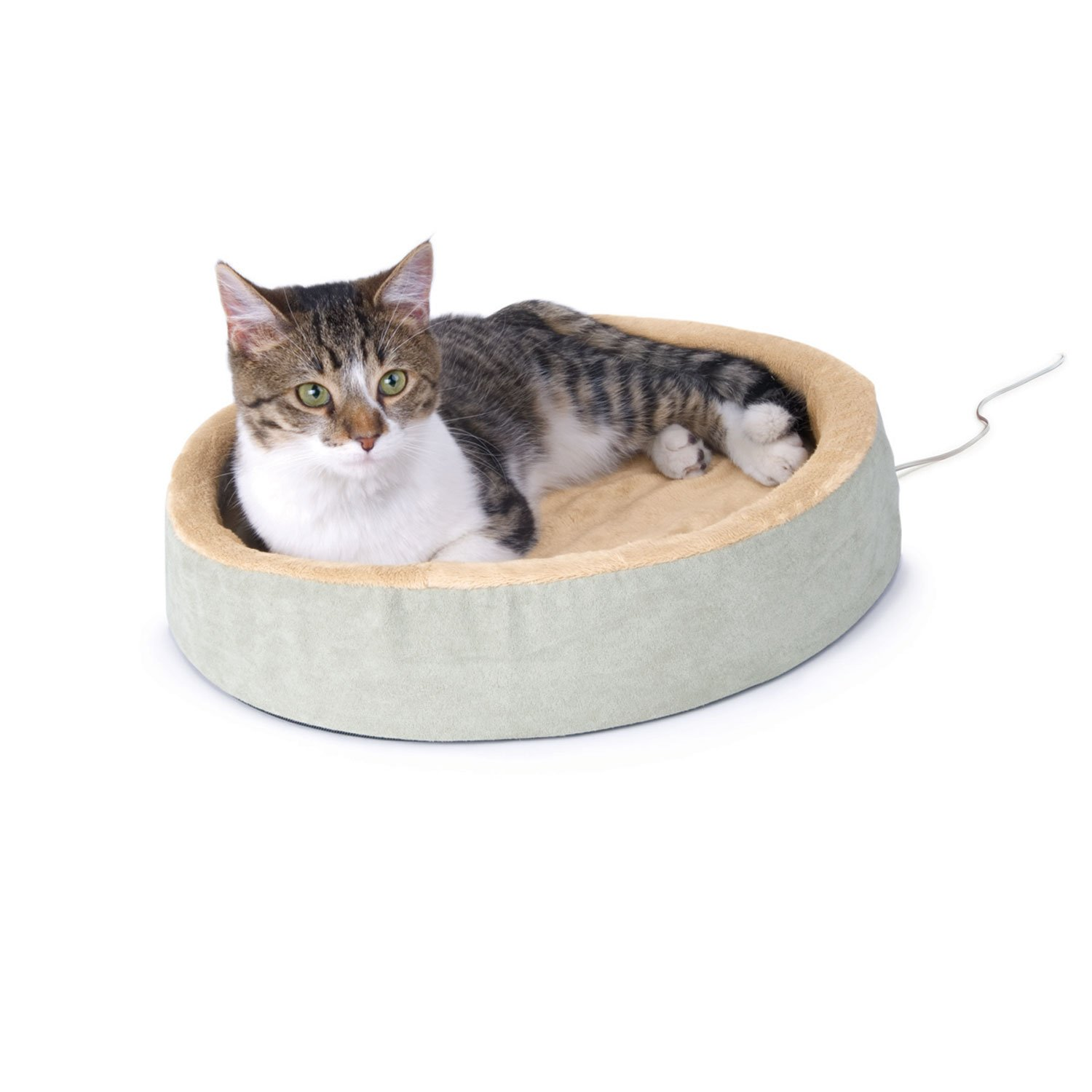 K&H Thermo-Kitty Cuddle Up Heated Cat Bed in Sage
