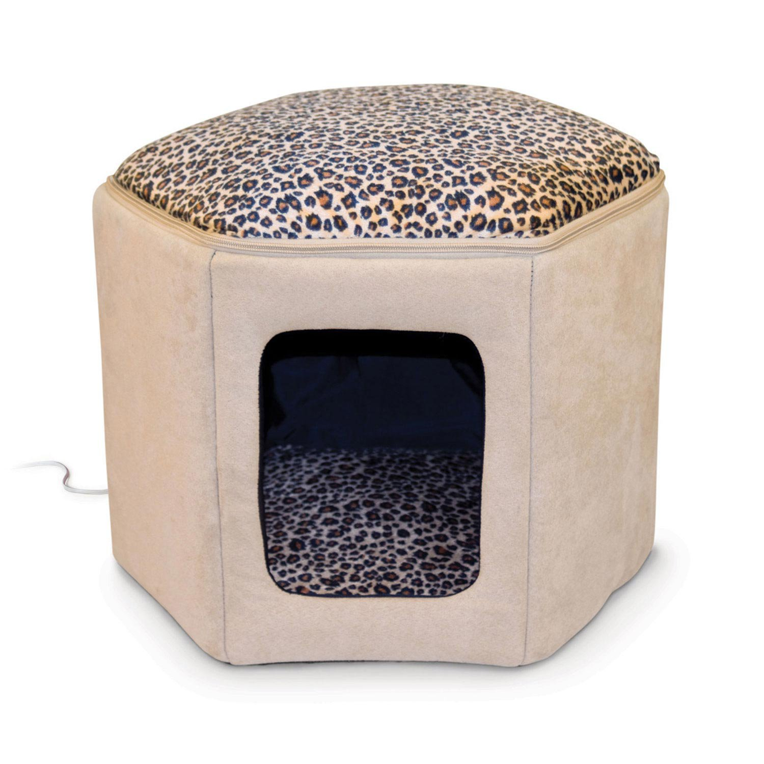 k h thermo kitty sleep house heated cat bed in tan and. Black Bedroom Furniture Sets. Home Design Ideas