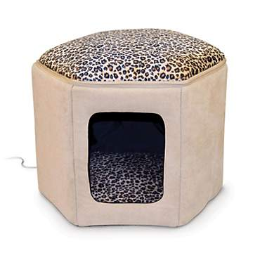 K Amp H Thermo Kitty Sleep House Heated Cat Bed In Tan And