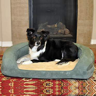 K&H Deluxe Ortho Bolster Sleeper Dog Bed in Green with Paw Prints