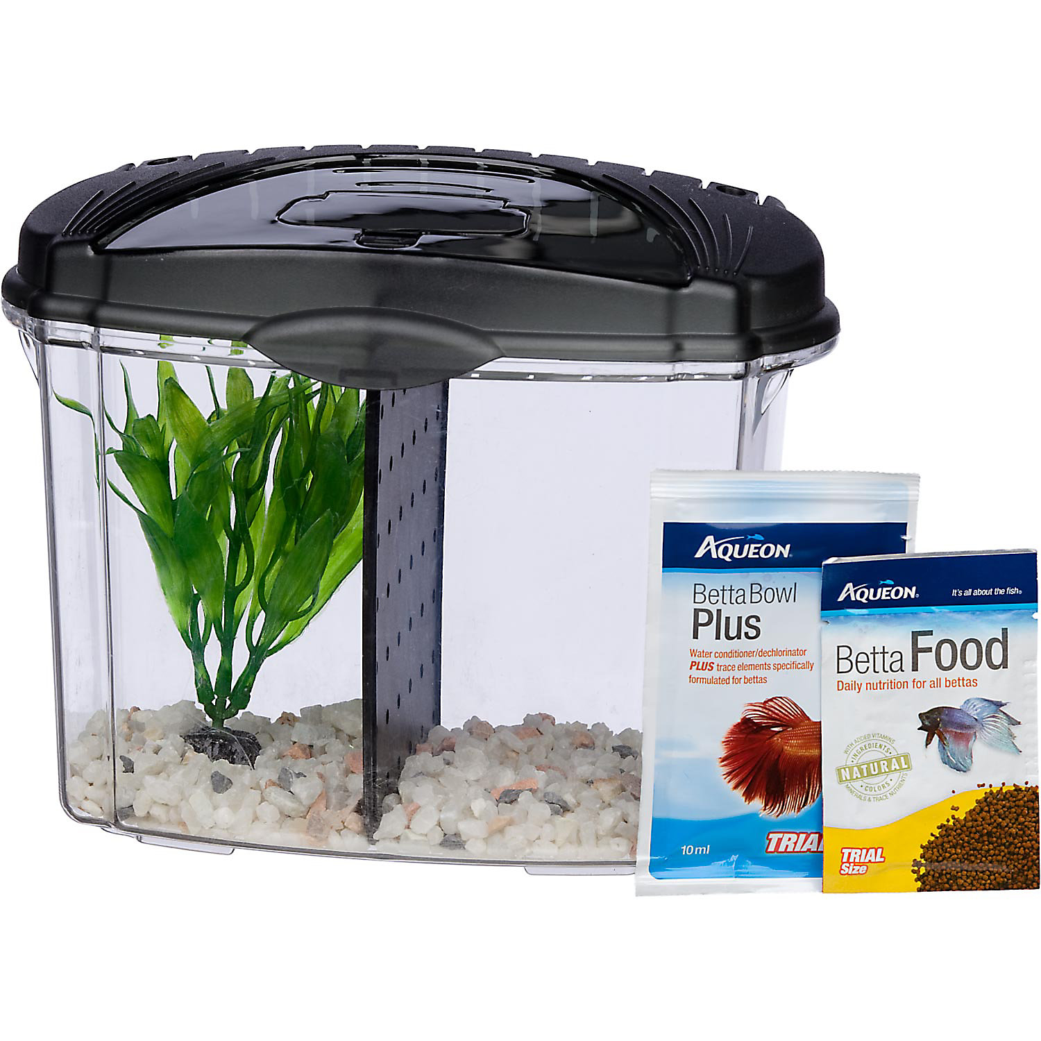 Aqueon Betta Bowl Aquarium Kit In Black .5 Gal.