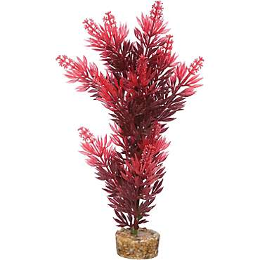 Imagitarium Red Bush Plant Plastic Aquarium Plant
