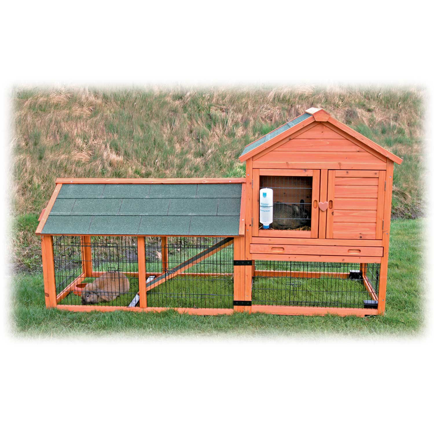 Trixie Natura Two Story Wheeled Rabbit Hutch With Run 78 3 L X 44 5 W 31 75 H Petco