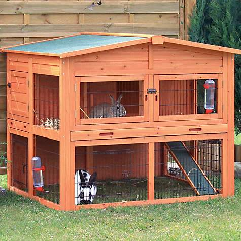 Trixie Natura XL Two Story Rabbit Hutch with Outdoor Run