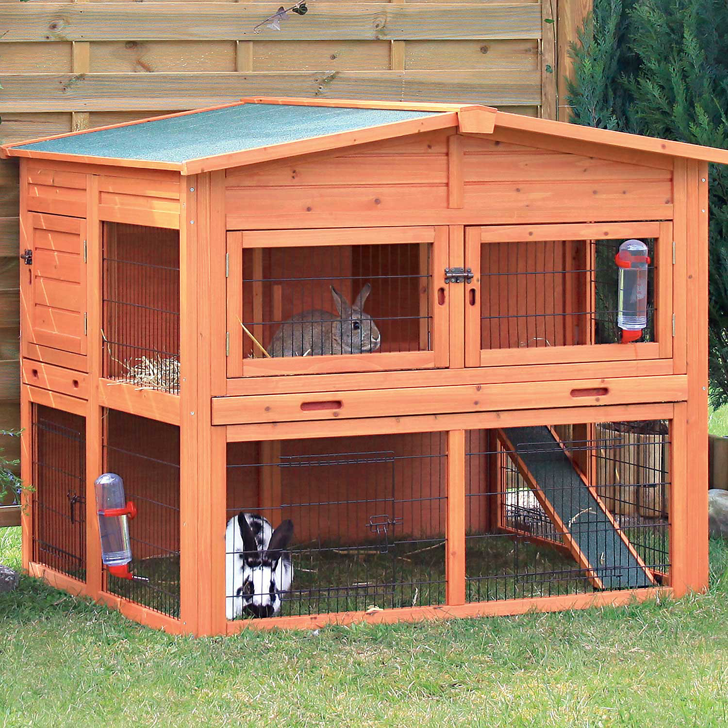 Trixie Natura Xl Two Story Rabbit Hutch With Outdoor Run 53 L X 45 W X 44 H X Large Brown