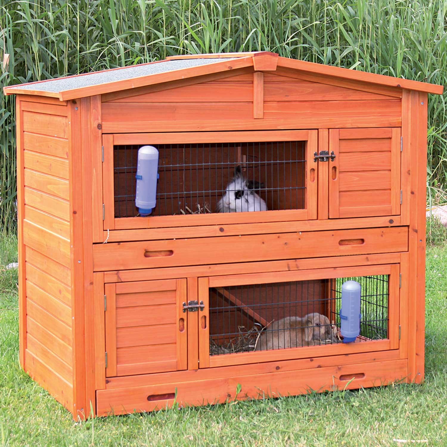 trixie natura two story peaked roof rabbit hutch petco