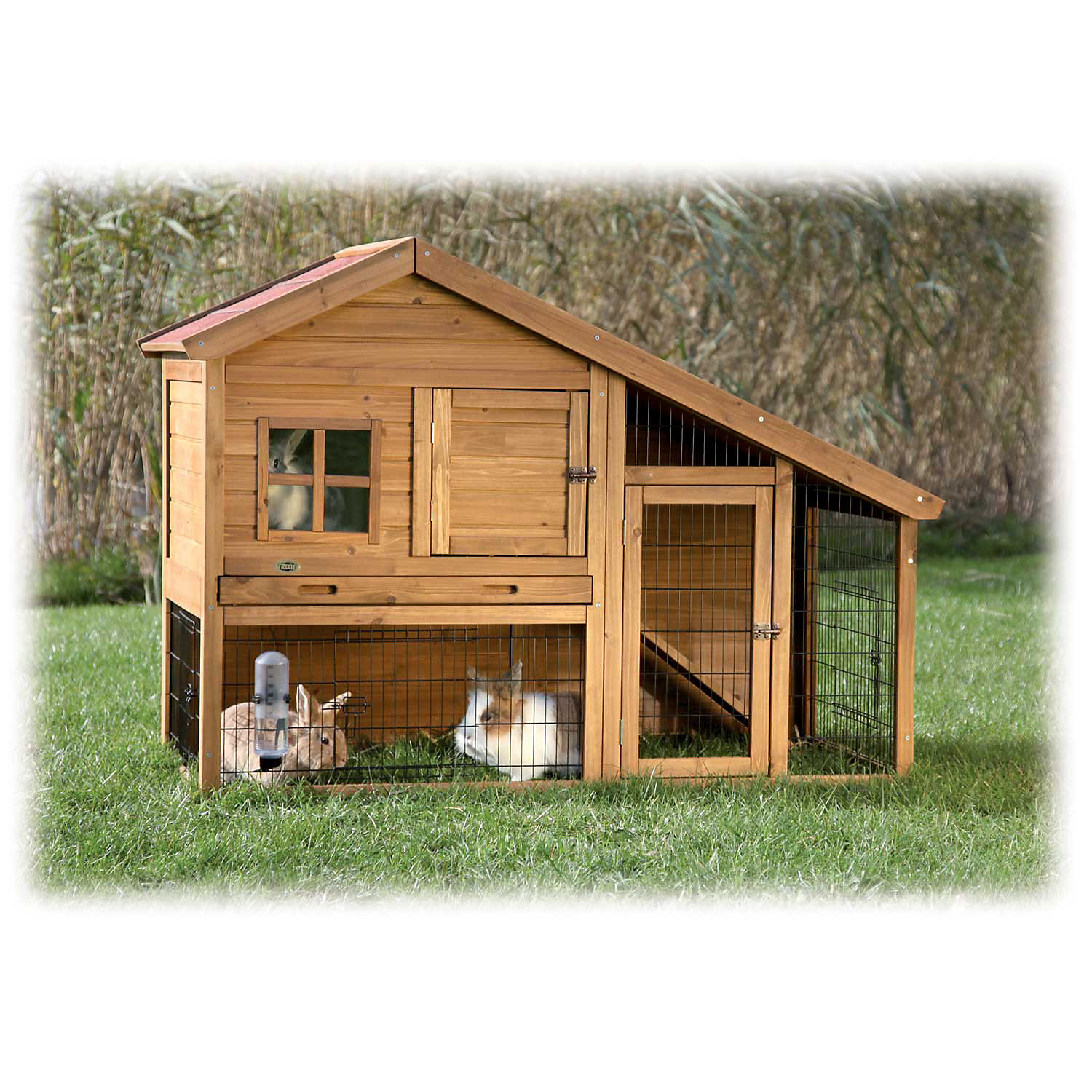 Trixie Natura Two Story Sloped Roof Rabbit Hutch With Run
