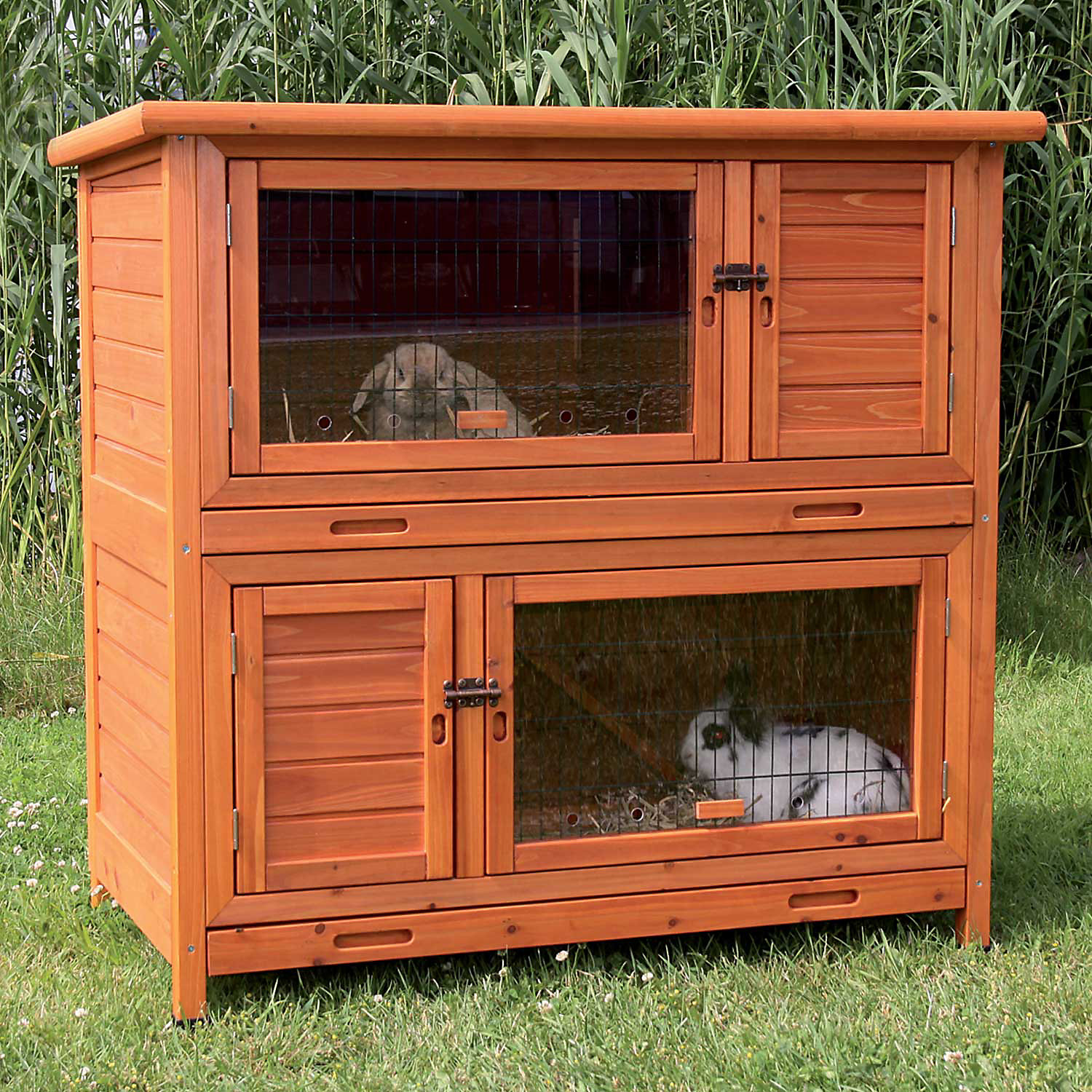 Trixie Natura Insulated Two Story Rabbit Hutch 45.5 L X 44.5 W X 25.5 H Medium Brown