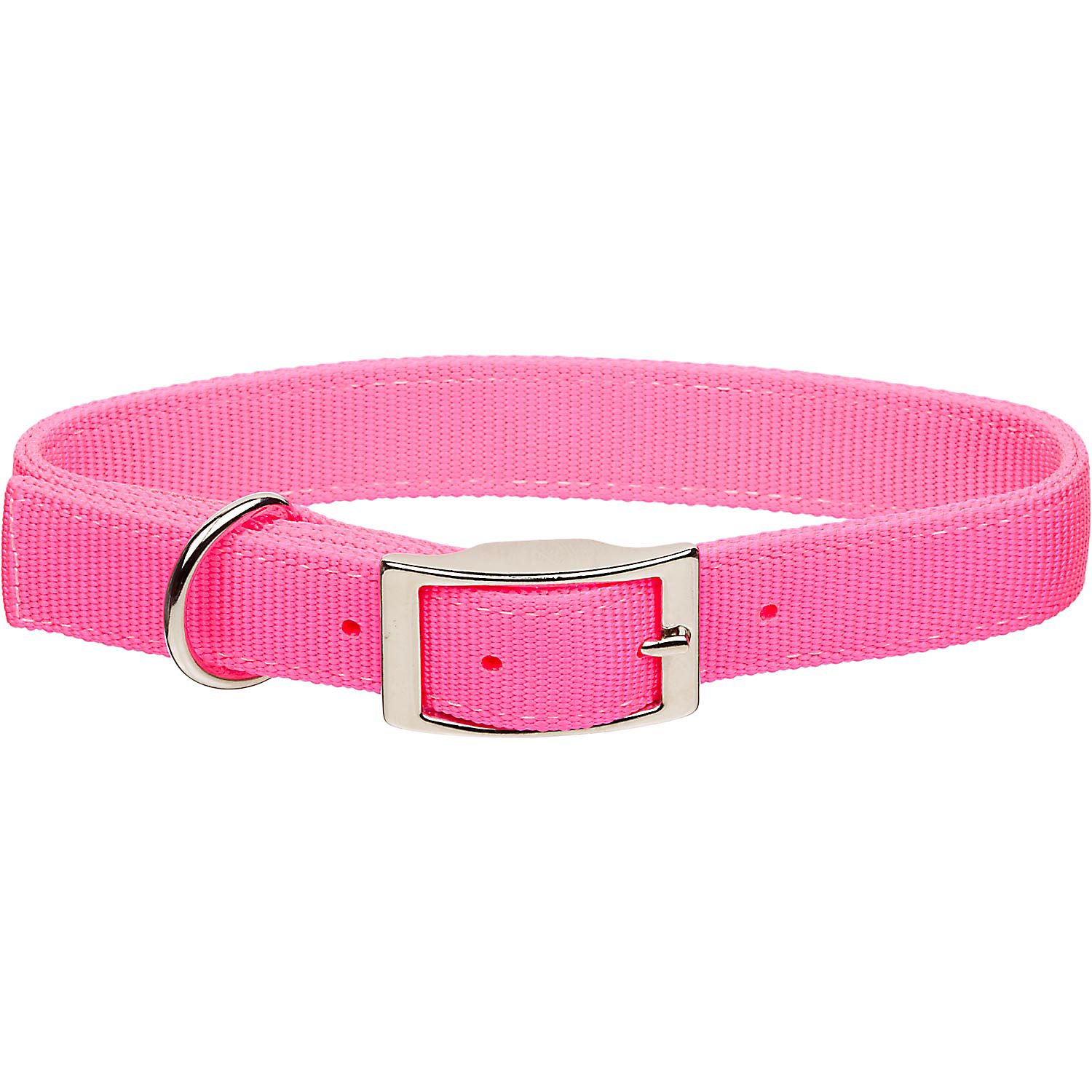 Coastal Pet Metal Buckle Double Ply Nylon Personalized Dog Collar in Neon Pink, 1