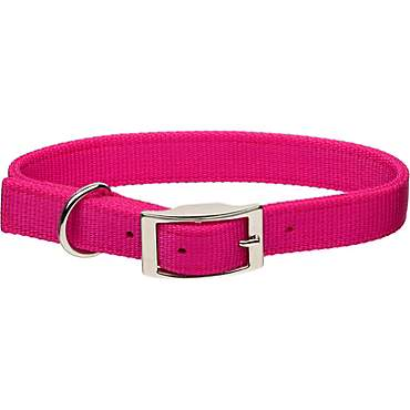 Coastal Pet Metal Buckle Double Ply Nylon Personalized Dog Collar in Pink Flamingo
