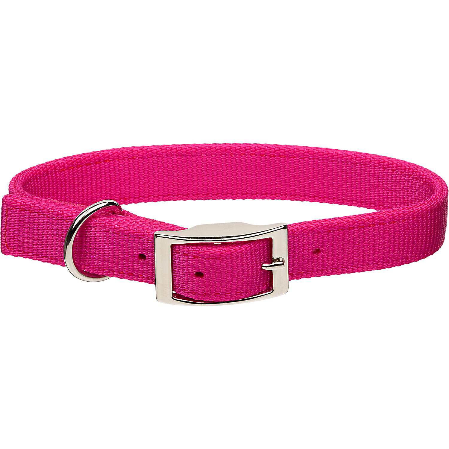 Coastal Pet Metal Buckle Double Ply Nylon Personalized Dog Collar in Pink Flamingo, 1