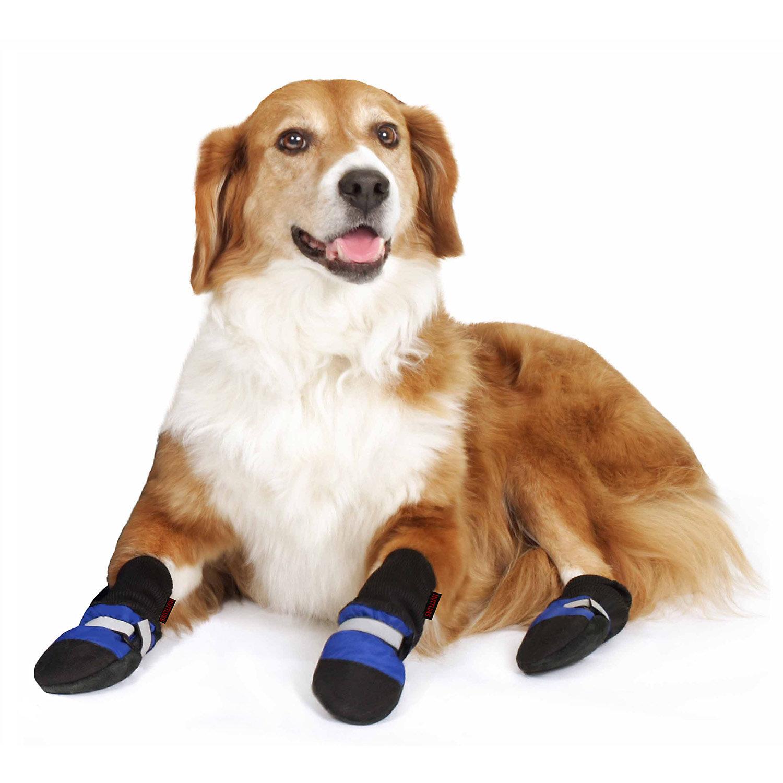 Muttluks Blue Fleece Lined Dog Boots, XX-Small, Black