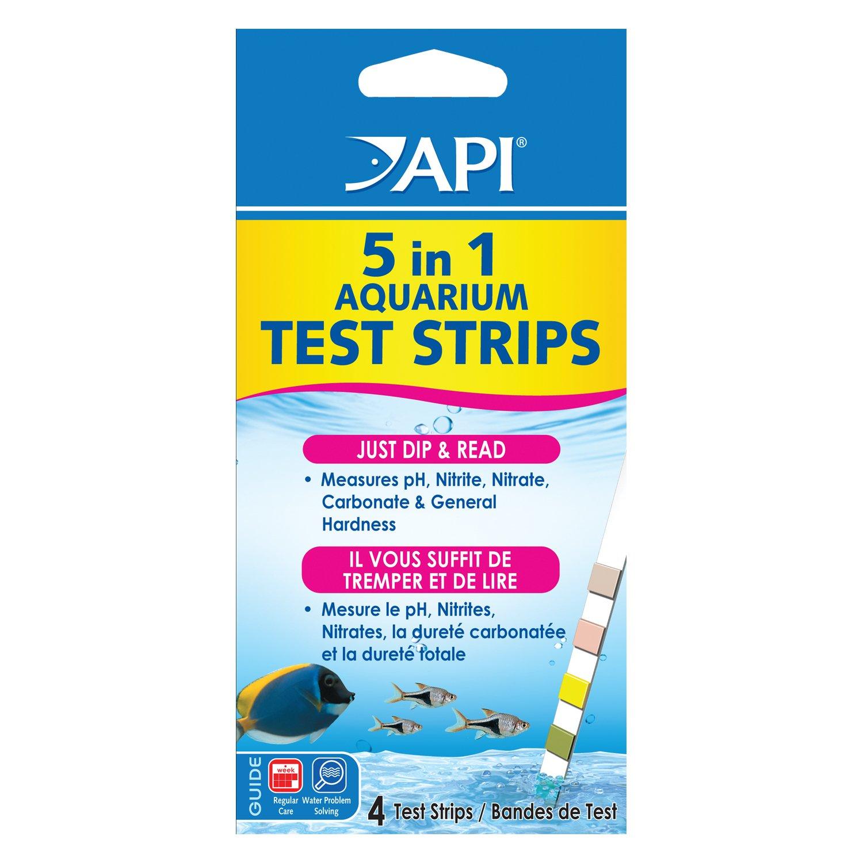 Api 5 in 1 aquarium water test strips petco for Fish tank test strips
