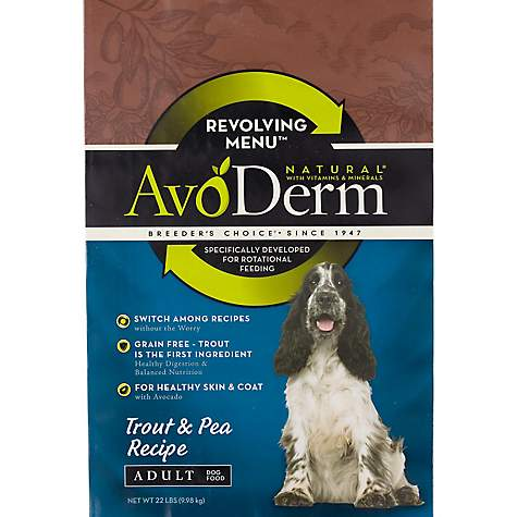 AvoDerm Natural Revolving Trout & Pea Recipe Dry Dog Food, 22 lbs