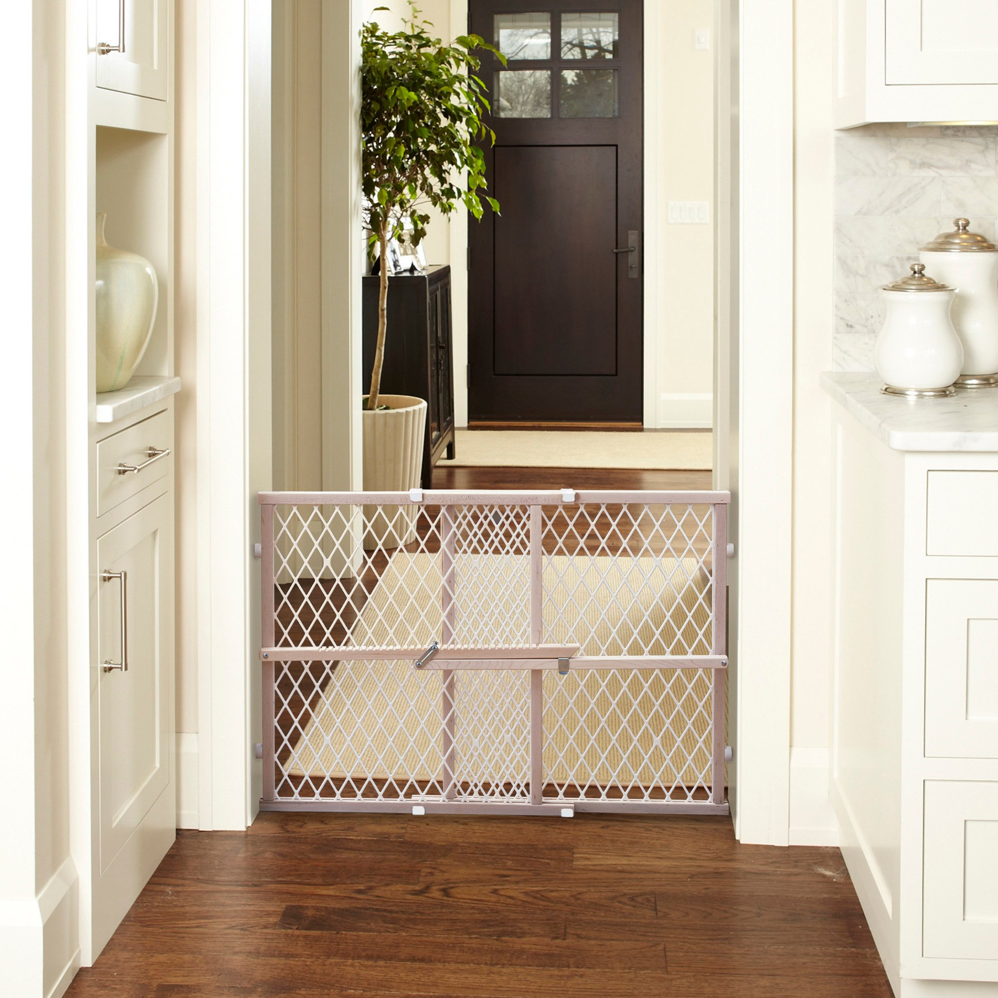 North States Wood Frame Diamond Mesh Pet Gate | Petco