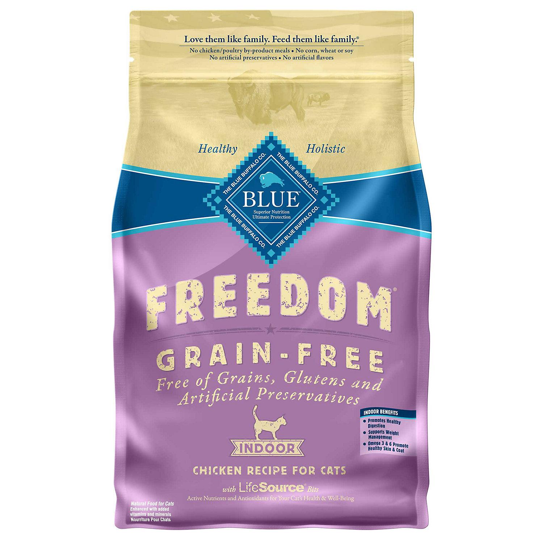Blue Buffalo Freedom Grain Free Indoor Chicken Recipe Adult Dry Cat Food 5 Lbs.