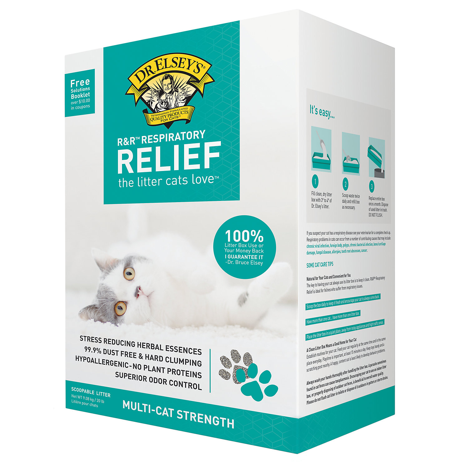 Dr. Elseys Precious Cat Respiratory Relief Clumping Clay Cat Litter, 20 Lbs.