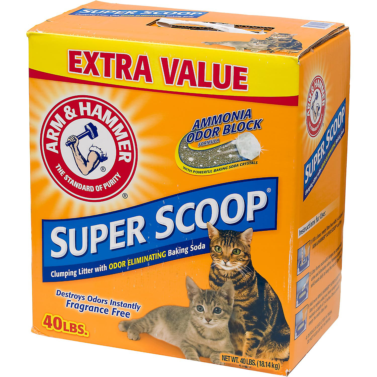 Arm & Hammer Super Scoop Unscented Baking Soda Clumping Litter, 40 lbs.