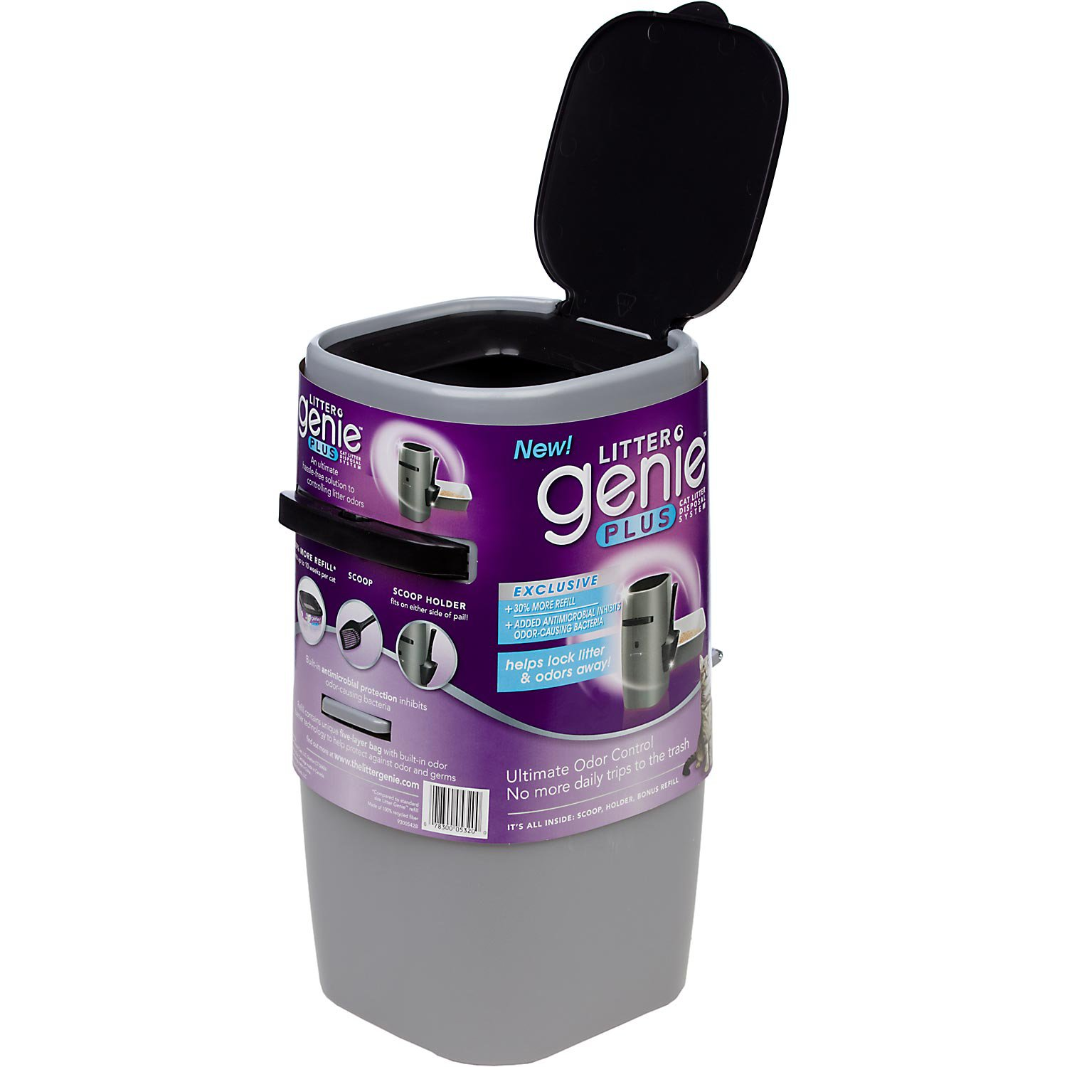Litter genie plus cat litter disposal system in silver petco for Dog litter box petco