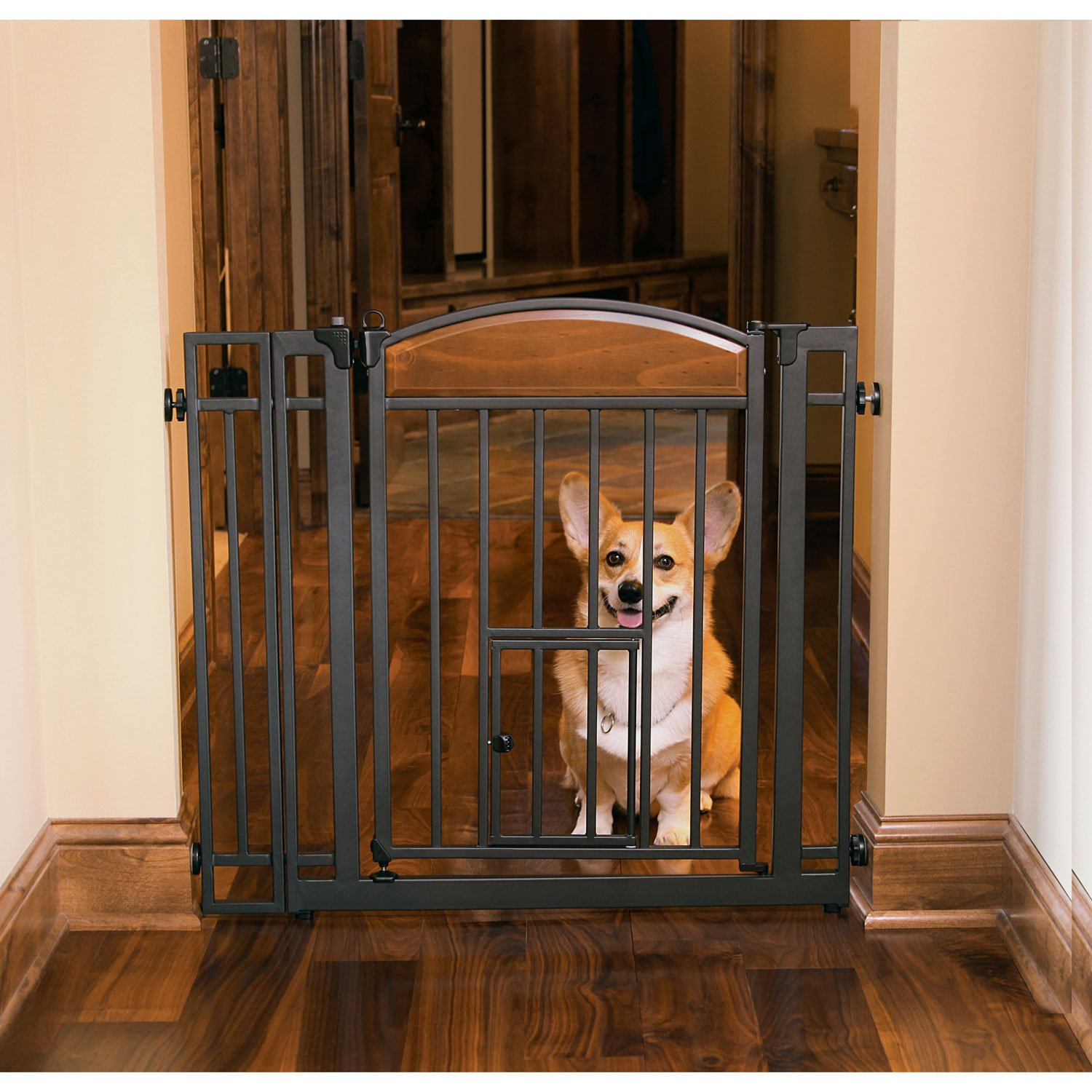 Carlson Pet Products Design Studio Metal Walk Thru Pet Gate Petco