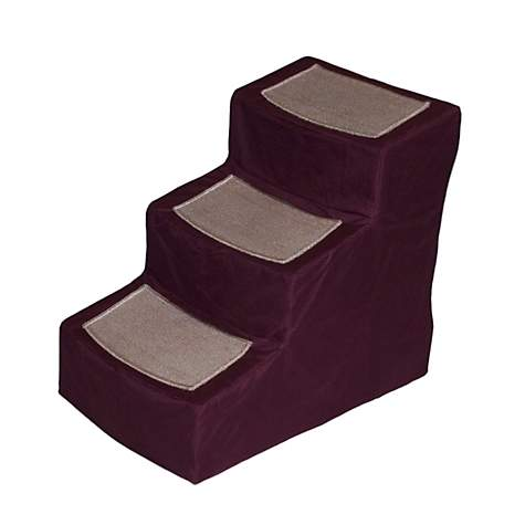 Pet Gear Burgundy Designer3 Step Stair With Removable Cover Petco