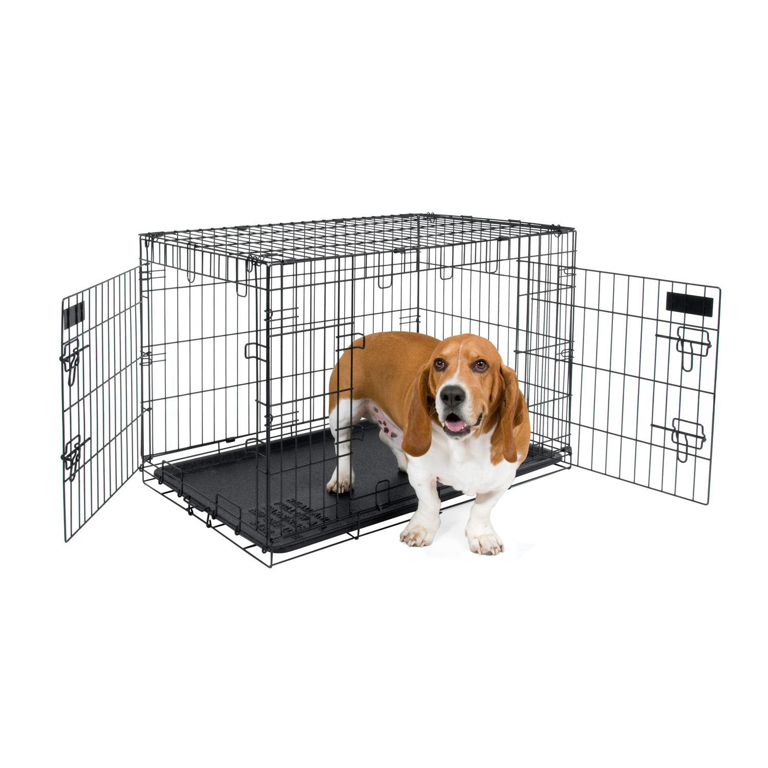 Petmate 2 Door Training Retreat Wire Dog Kennel in Black | Petco