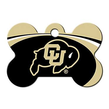 Quick-Tag University of Colorado NCAA Bone Personalized Engraved Pet ID Tag, Large