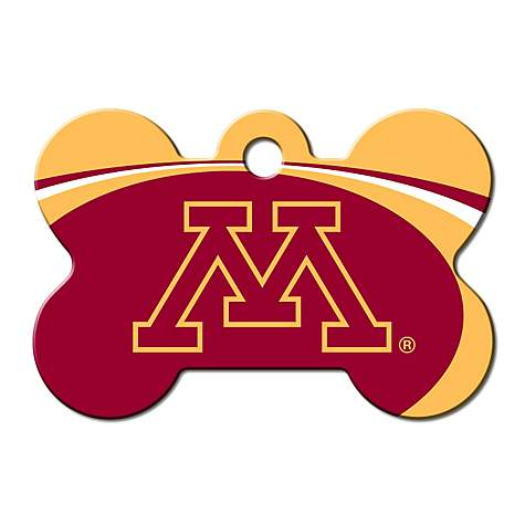 Quick-Tag University of Minnesota NCAA Bone Personalized Engraved Pet ID Tag, Large