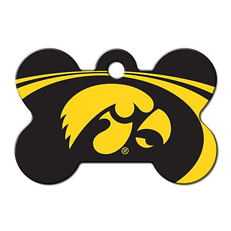 Quick-Tag Iowa Hawkeyes NCAA Bone Personalized Engraved Pet ID Tag, Large