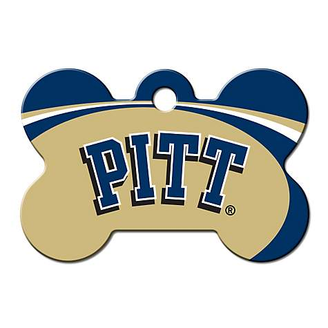 Quick-Tag Pitt Panthers NCAA Bone Personalized Engraved Pet ID Tag, Large