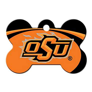 Quick-Tag Oklahoma State NCAA Bone Personalized Engraved Pet ID Tag, Large