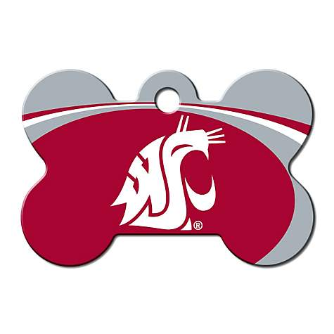 Quick-Tag Washington State NCAA Bone Personalized Engraved Pet ID Tag, Large