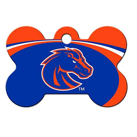 Quick-Tag Boise State NCAA Bone Personalized Engraved Pet ID Tag, 1 1/2