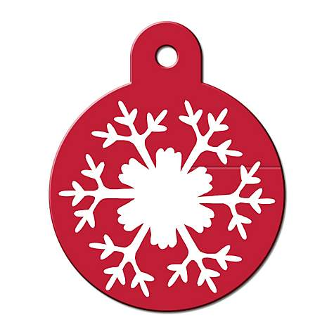 Quick-Tag Large Snowflake Circle Personalized Engraved Pet ID Tag, Large