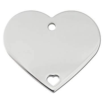 Quick-Tag Large Pierced Chrome Heart Personalized Engraved Pet ID Tag